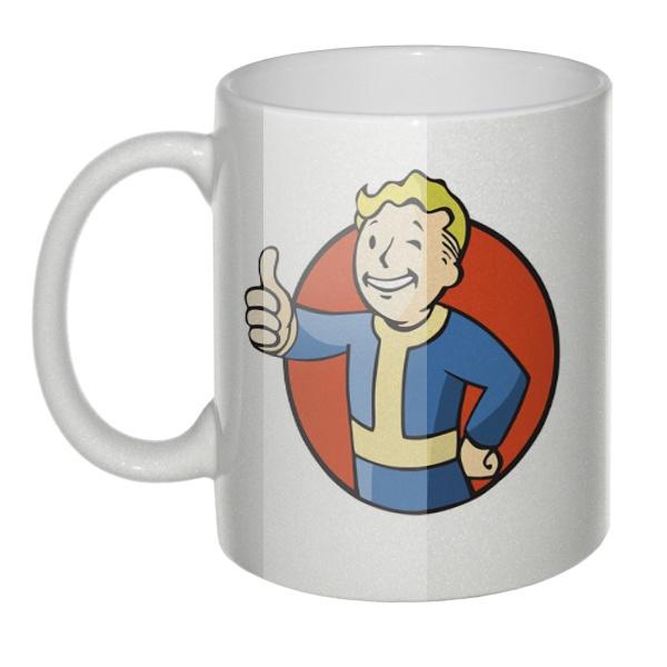 Перламутровая кружка Vault boy (Волт-Бой из Fallout)
