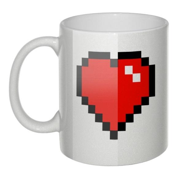 Перламутровая кружка Пиксельное сердце