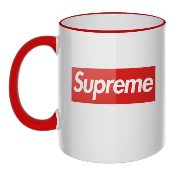 Кружка Supreme с цветным ободком и ручкой