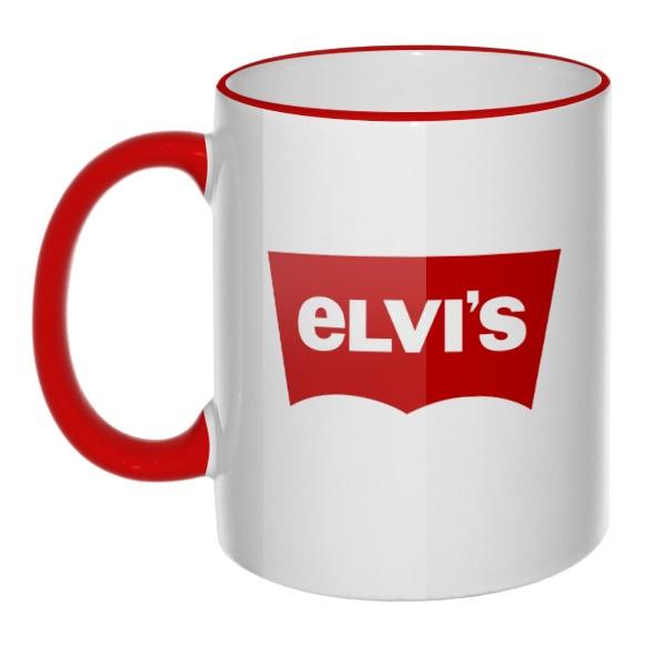Кружка Elvis vs Levis с цветным ободком и ручкой
