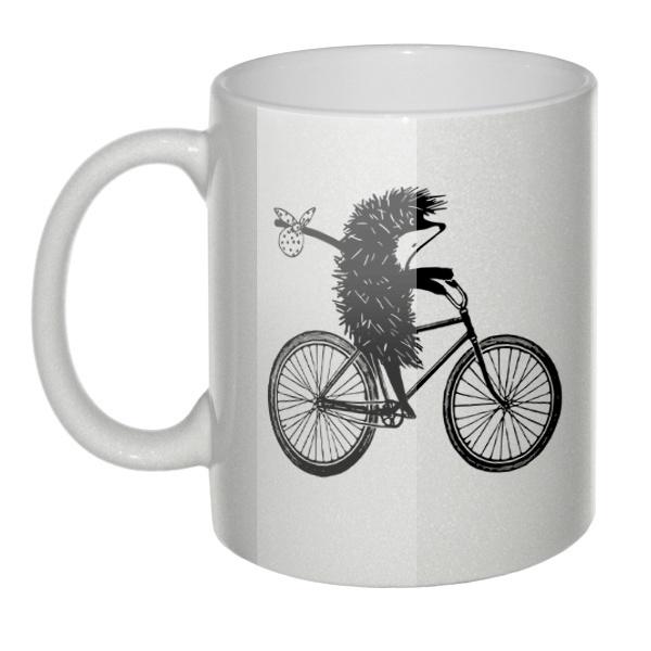 Перламутровая кружка Ёжик на велосипеде