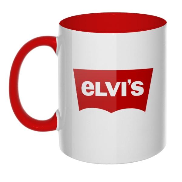 Кружка Elvis vs Levis цветная внутри и ручка