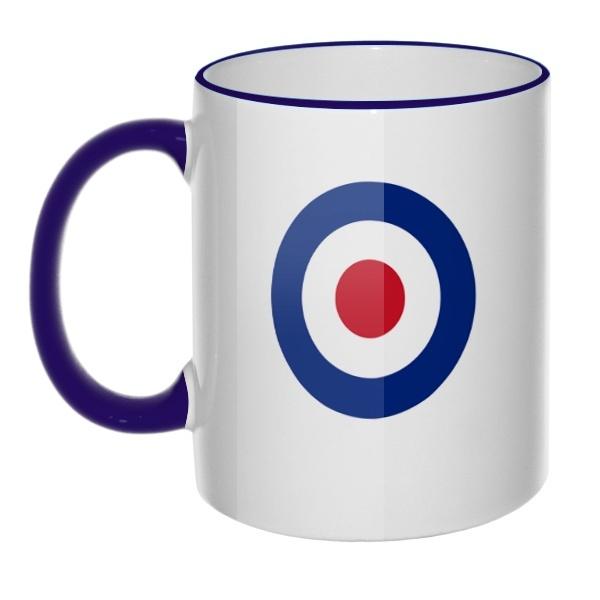 Кружка Эмблема ВВС Великобритании с цветным ободком и ручкой