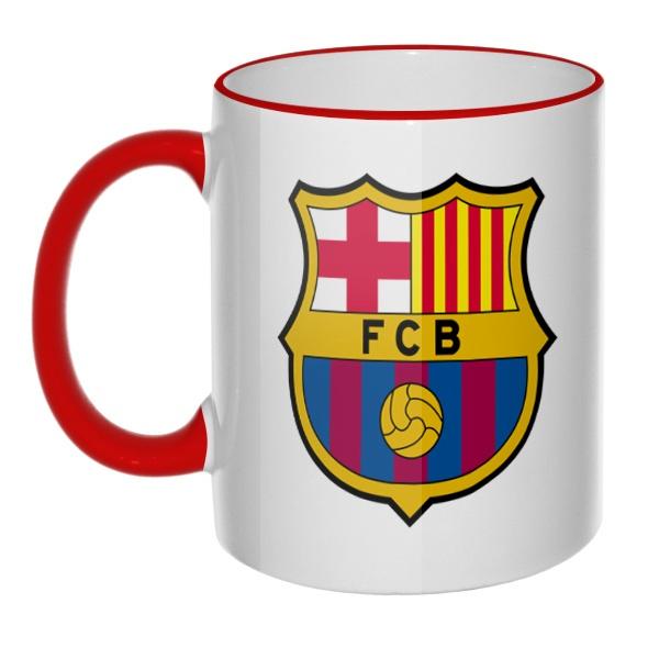 Кружка FC Barcelona с цветным ободком и ручкой