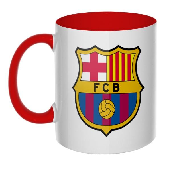 Кружка FC Barcelona цветная внутри и ручка