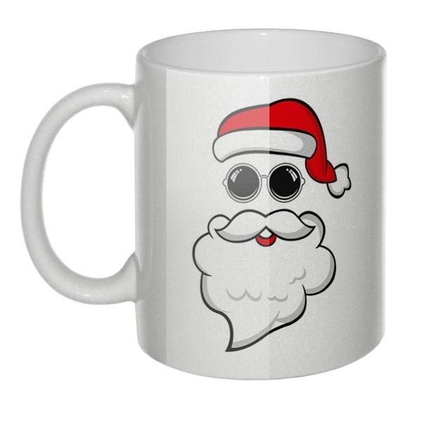 Перламутровая кружка Дед Мороз в очках