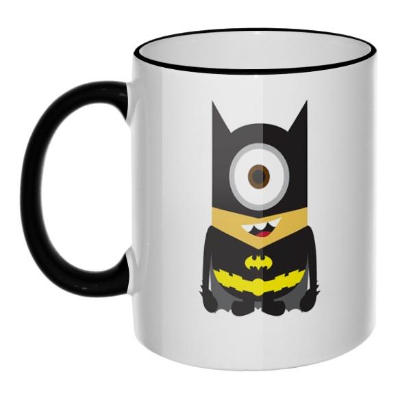Кружка Batman Minion с цветным ободком и ручкой