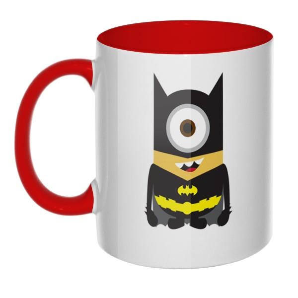 Кружка Batman Minion цветная внутри и ручка