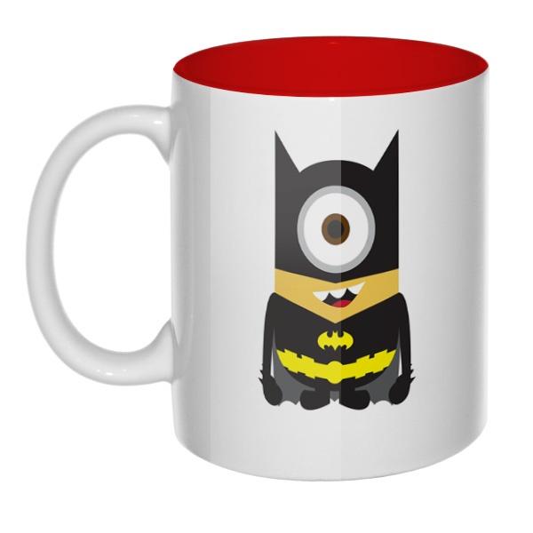 Кружка цветная внутри Batman Minion