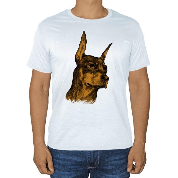 Доберман, белая футболка