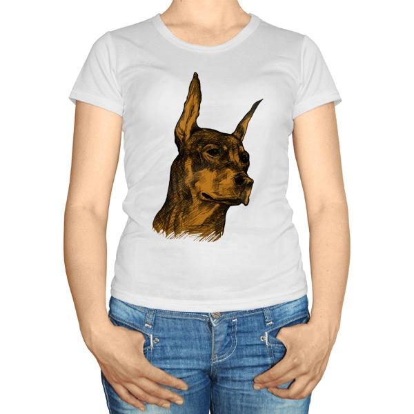 Женская футболка Доберман