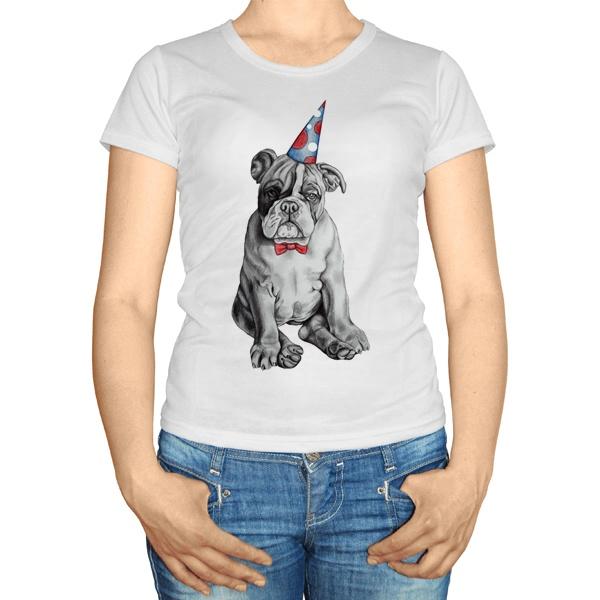 Женская футболка Бульдог в колпаке