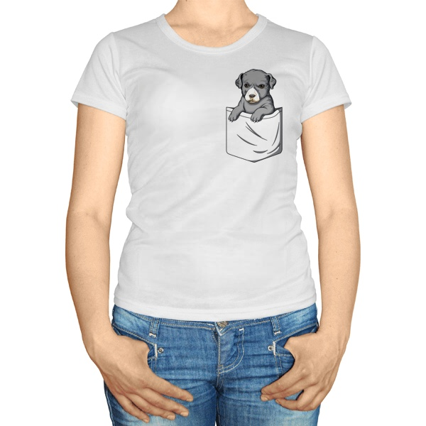 Женская футболка Щенок в кармане