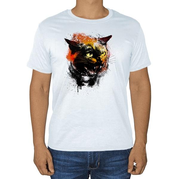 Рисунок агрессивного кота, белая футболка