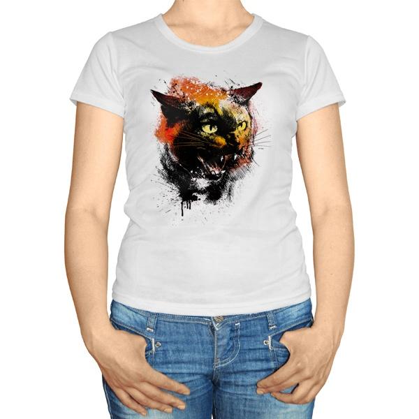 Женская футболка Рисунок агрессивного кота