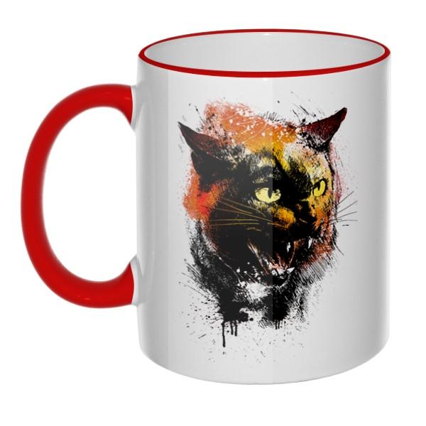 Кружка Рисунок агрессивного кота с цветным ободком и ручкой