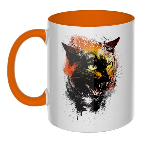 Рисунок агрессивного кота, кружка цветная внутри и ручка