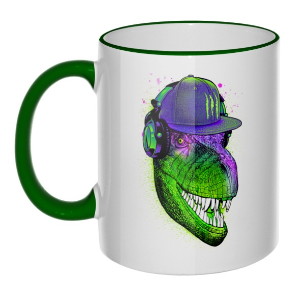Кружка Модный динозавр с цветным ободком и ручкой