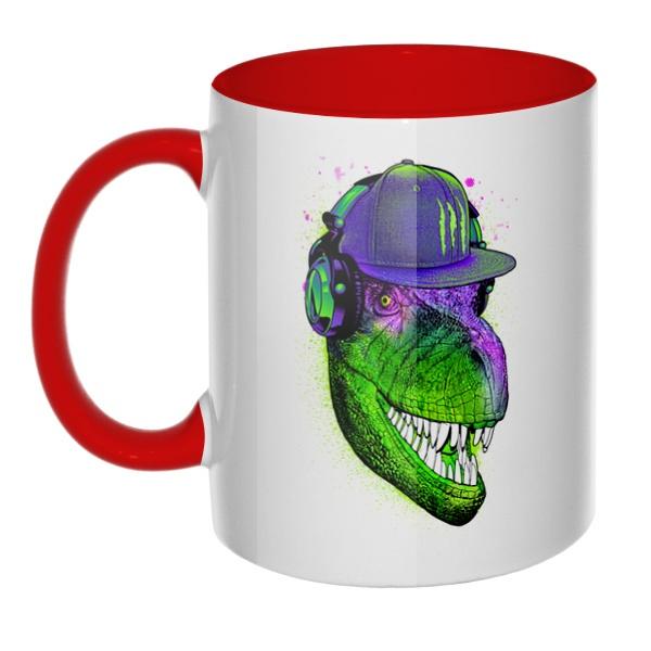 Модный динозавр, кружка цветная внутри и ручка