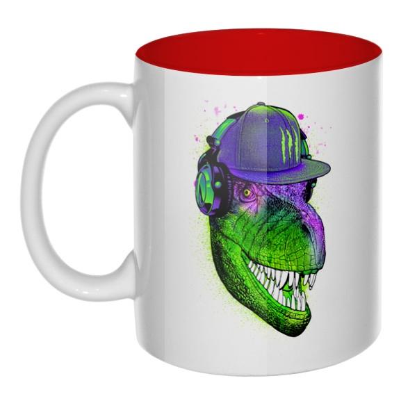 Модный динозавр, кружка цветная внутри