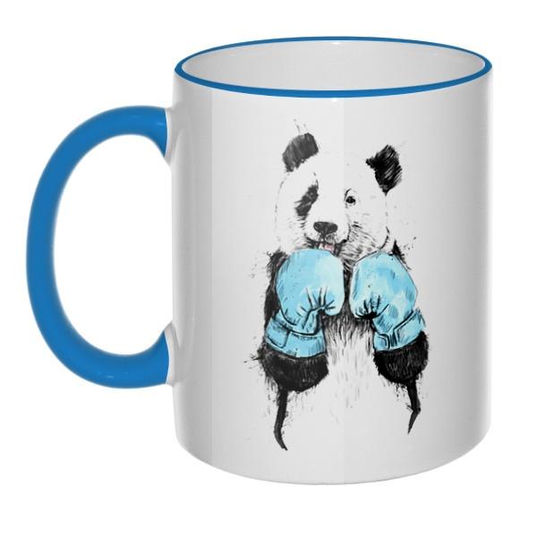 Кружка Панда-боксер с цветным ободком и ручкой