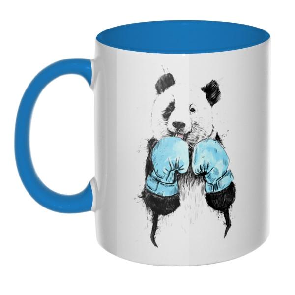 Панда-боксер, кружка цветная внутри и ручка