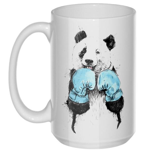 Панда-боксер, большая кружка с круглой ручкой