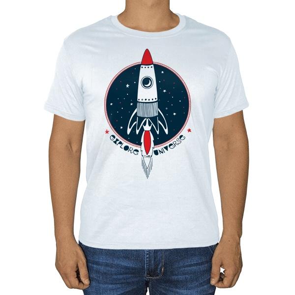 Белая футболка Ракета Explore Universe