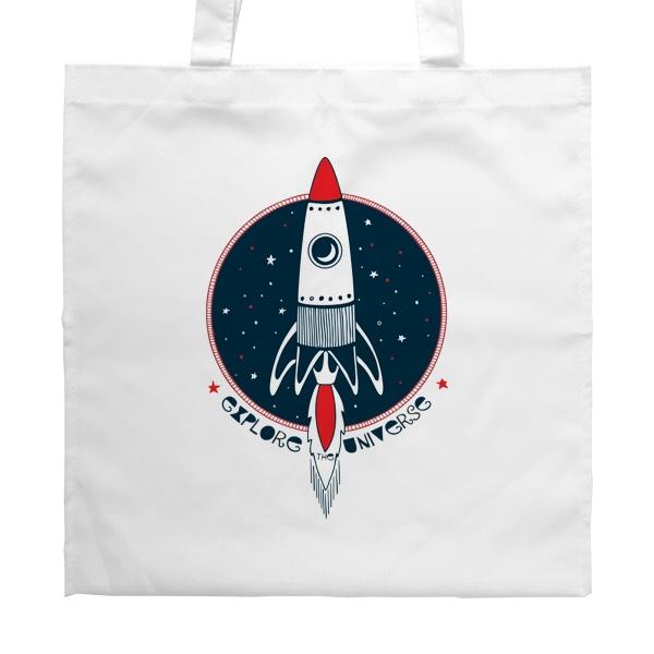 Белая сумка Ракета Explore Universe, цвет белый