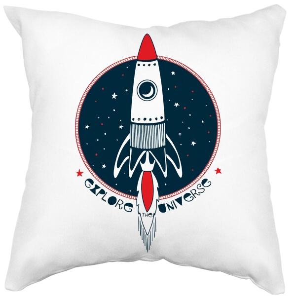 Подушка белая Ракета Explore Universe, цвет белый