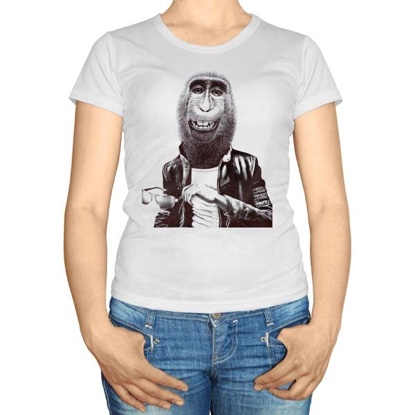 Женская футболка Обезьяна в кожаной куртке
