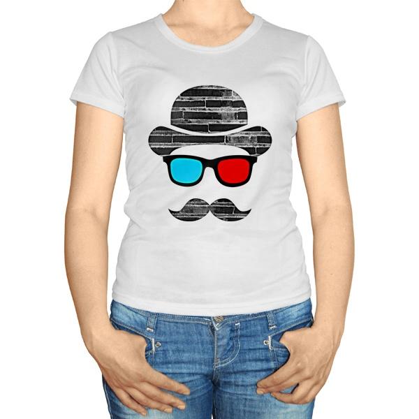 Женская футболка Шляпа, усы, стереоочки