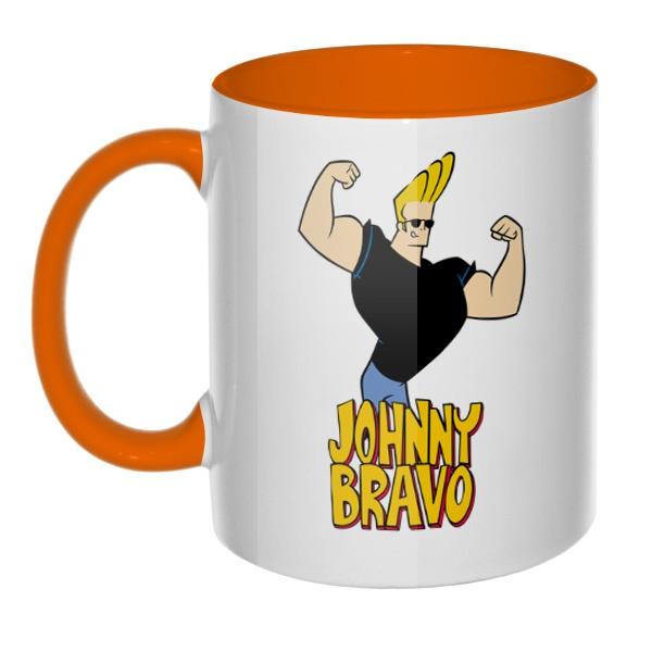 Кружка Johnny Bravo цветная внутри и ручка