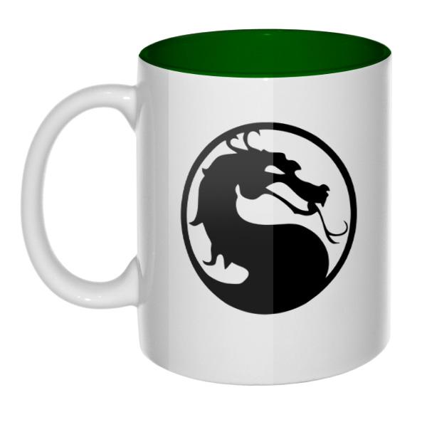 Mortal Kombat (Смертельная битва), кружка цветная внутри, цвет зеленый