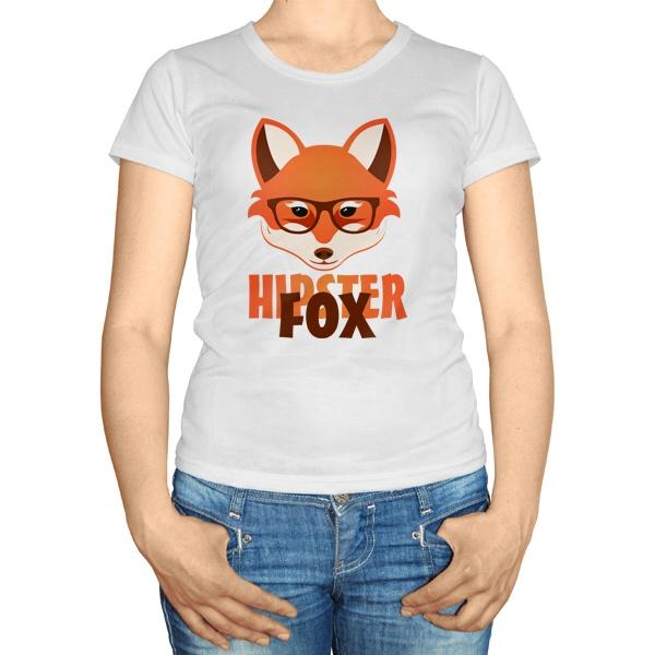 Женская футболка Лиса-хипстер