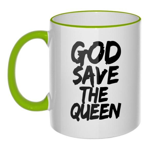 Кружка God Save the Queen с цветным ободком и ручкой