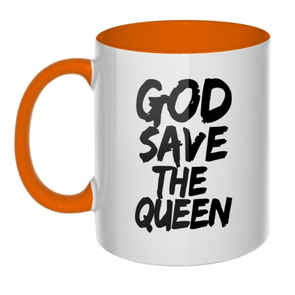 Кружка God Save the Queen цветная внутри и ручка