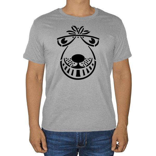 Мордочка, серая футболка (меланж)