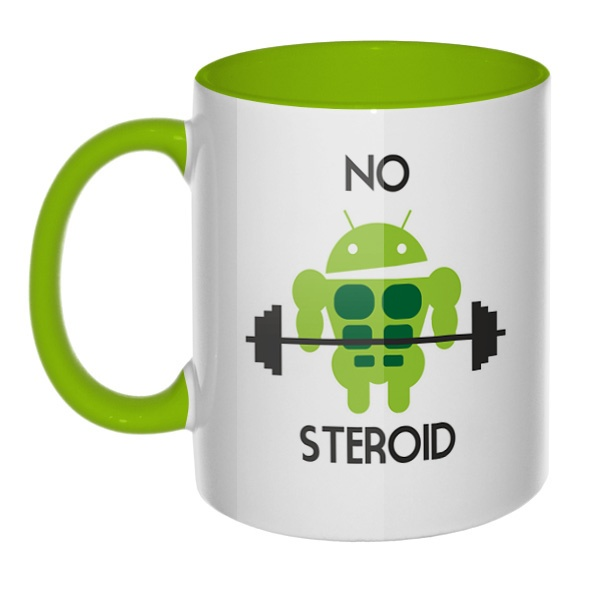 No steroid, кружка цветная внутри и ручка