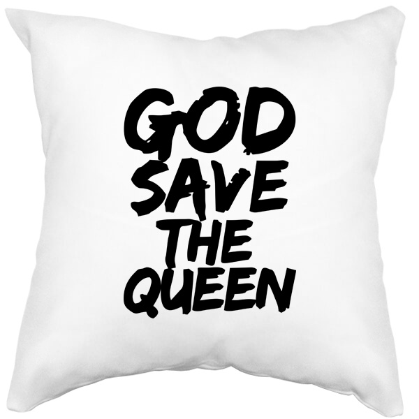 Подушка белая God Save the Queen, цвет белый
