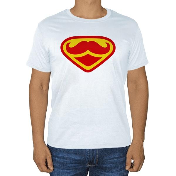 Супер Усы, белая футболка