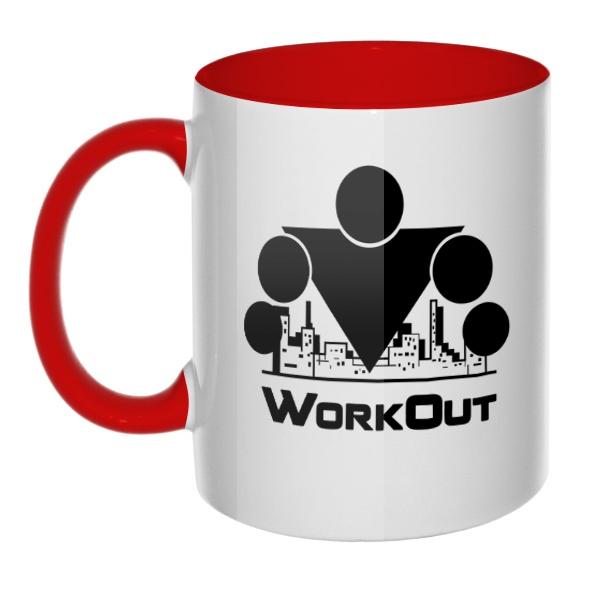 Кружка Workout цветная внутри и ручка
