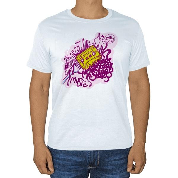 I love rock, белая футболка