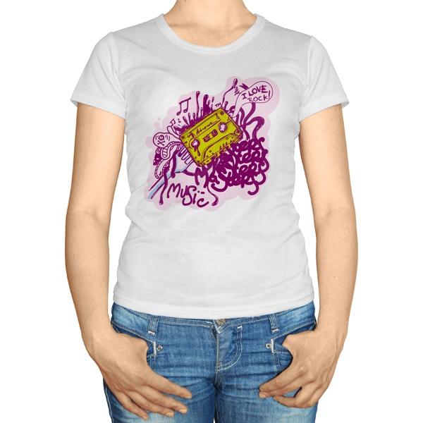 Женская футболка I love rock