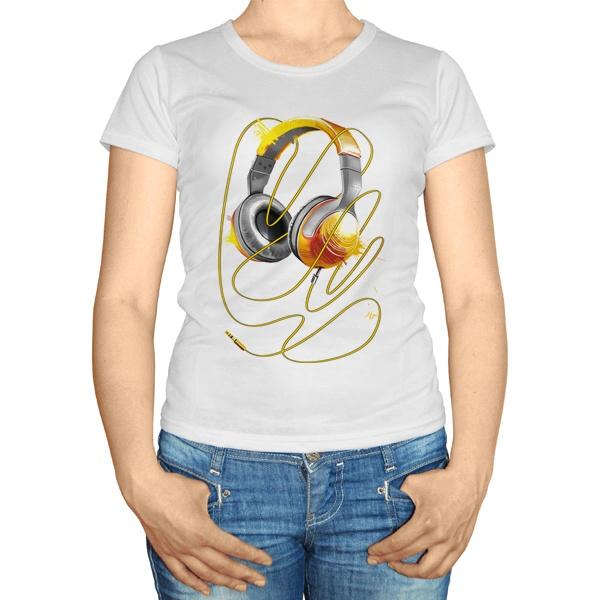 Женская футболка Наушники, цвет белый