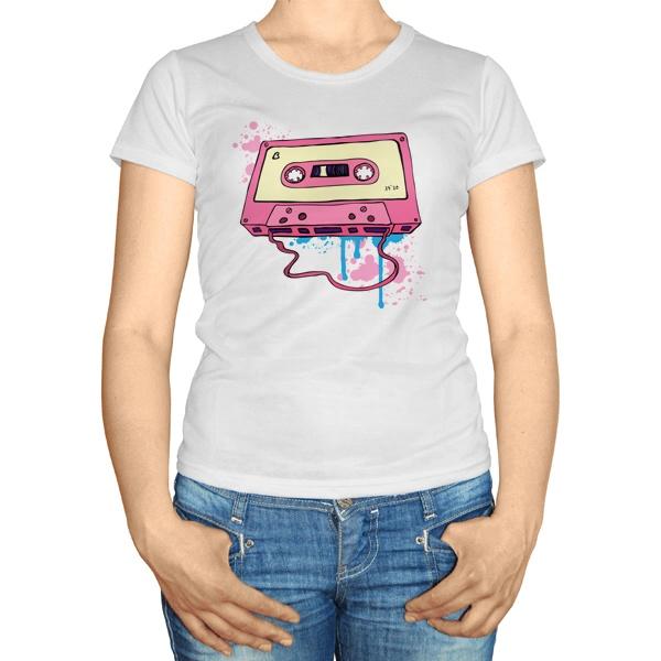 Женская футболка Аудиокассета с магнитной лентой