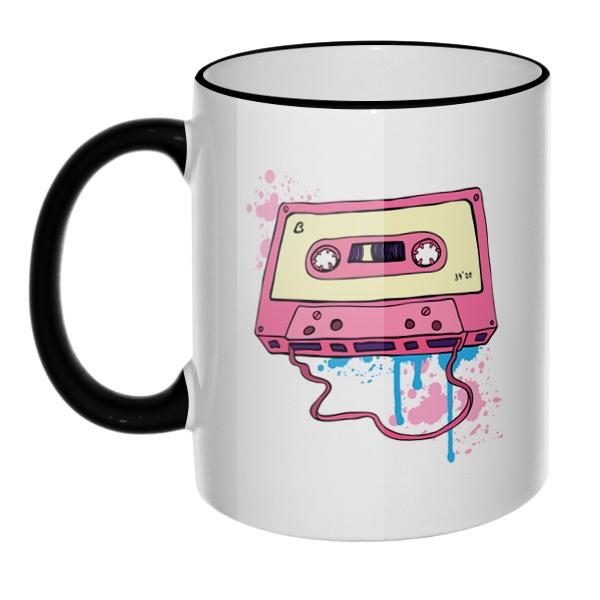 Кружка Аудиокассета с магнитной лентой с цветным ободком и ручкой