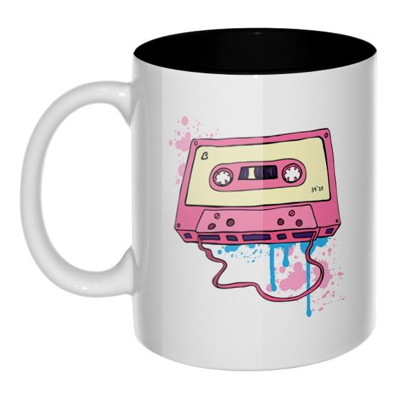 Аудиокассета с магнитной лентой, кружка цветная внутри