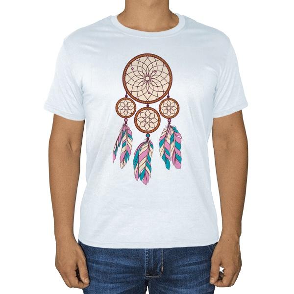 Индейский амулет, белая футболка