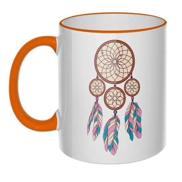 Кружка Индейский амулет с цветным ободком и ручкой